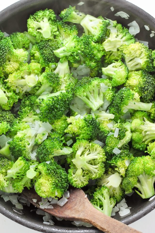 Cook onion and broccoli until tender.