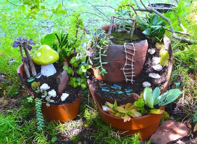 Transform broken pots into an adorable fairy garden.