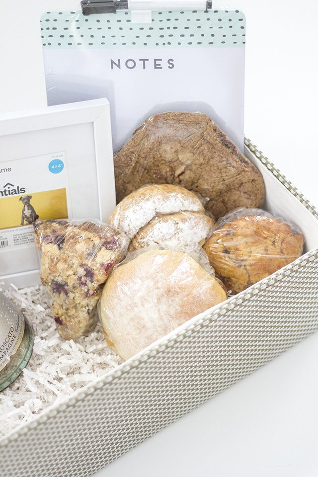 Add an assortment of locally-made baked goods to the basket.