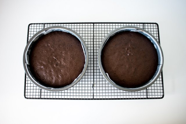 Let the cakes cool in their tins.