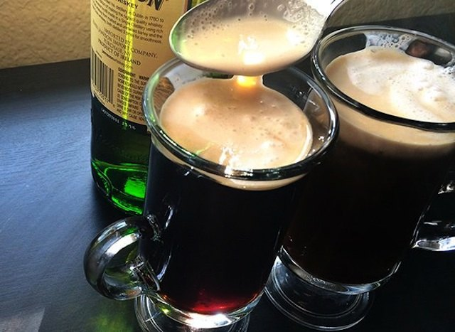 Warm up and unwind with a glass of Irish coffee.