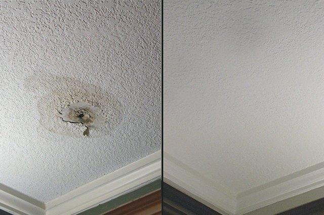 repair crack in textured plaster ceiling