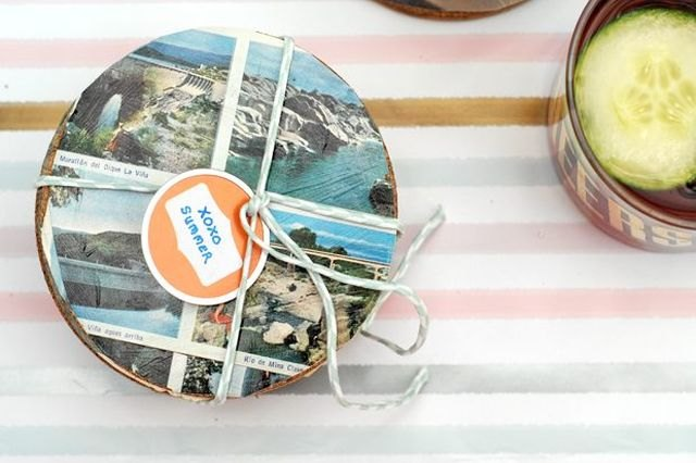 Decoupage medium protects your postcard coasters.