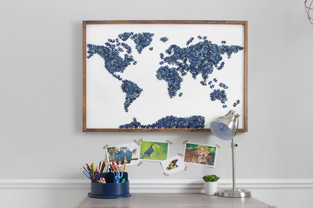 DIY Upcycled Puzzle Map Wall Art | eHow