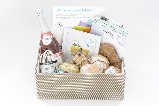 Fill a storage basket with collected items for the perfect welcome present.