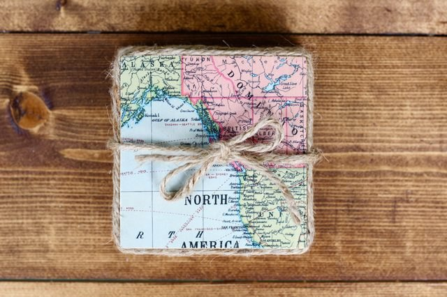 "Add a twine ""ribbon"" to round out this set of gift coasters."