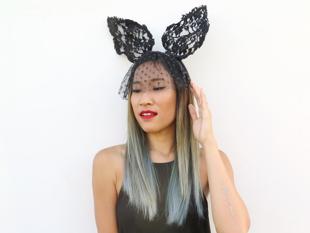 Wearing the lace bunny ears.