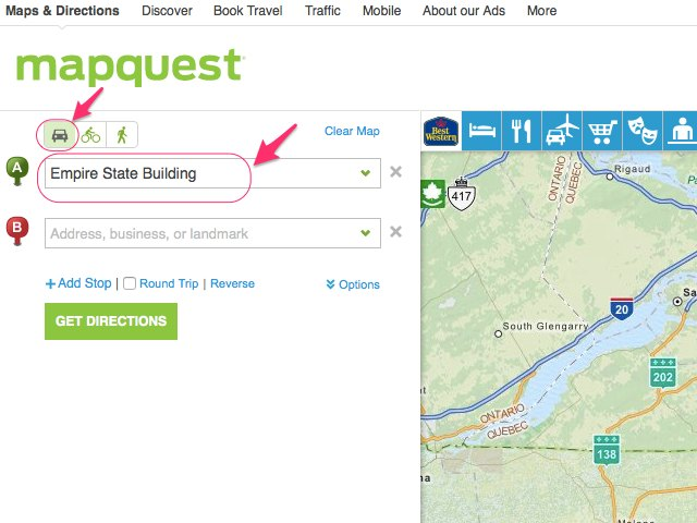 mapquest discover