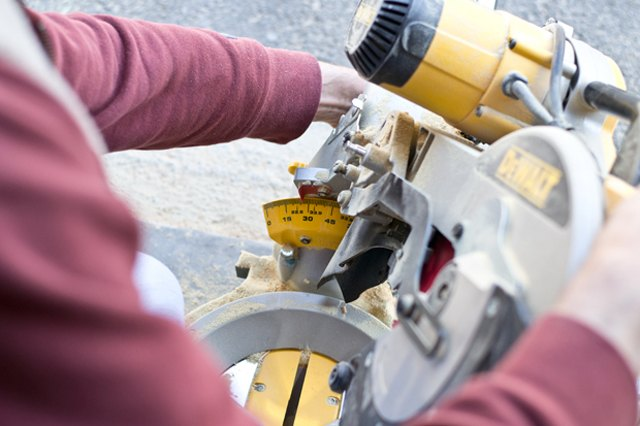 Adjust the bevel angle of the chop saw.