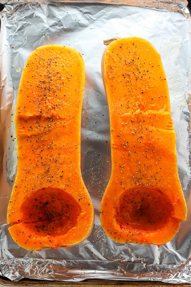 Slice the squash in half, and remove the seeds.