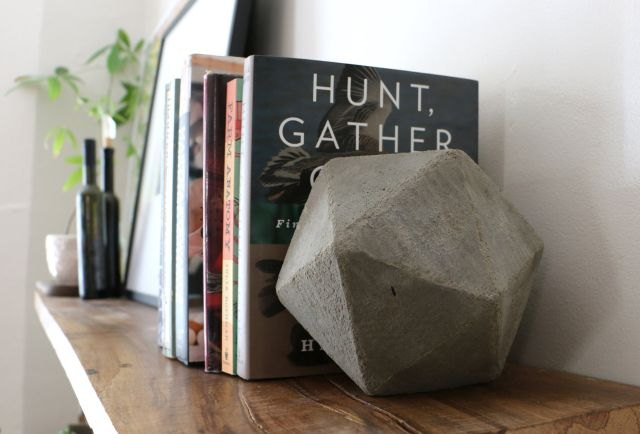 Make your own molds for these complex bookends using cardboard folded into geometric shapes.