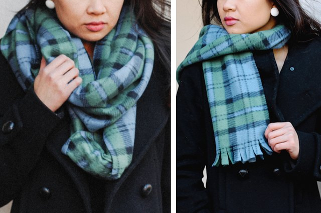 Simple fleece scarves are both easy and fun to make.