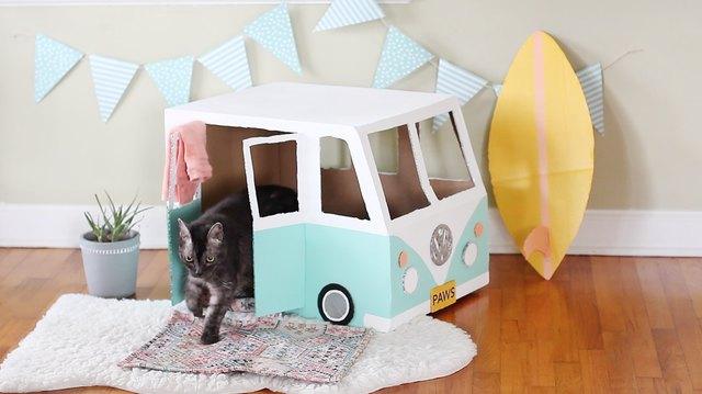 Cardboard Bus Cat House Tutorial Ehow