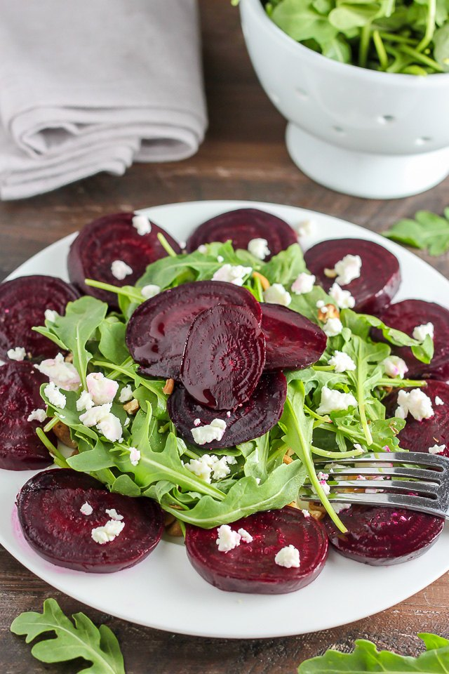 Assemble a roasted beet salad with a few simple steps.