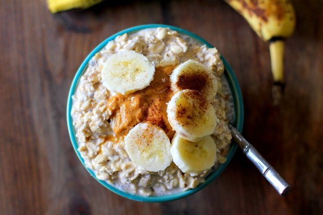 High-energy peanut butter & banana overnight oatmeal gets you going.