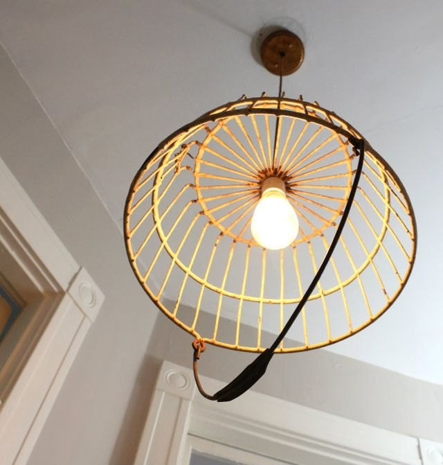 Turn an old wire basket into creative ceiling fixture or chandelier.