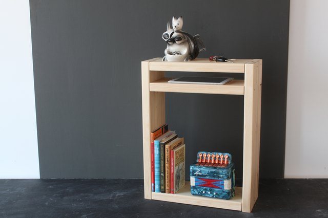 A nightstand with a special iPad shelf