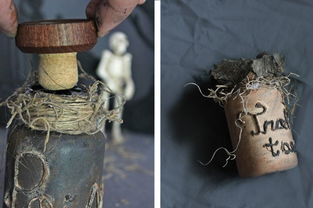 Place a cork in the top of the bottle or decorate the cap with tree bark.
