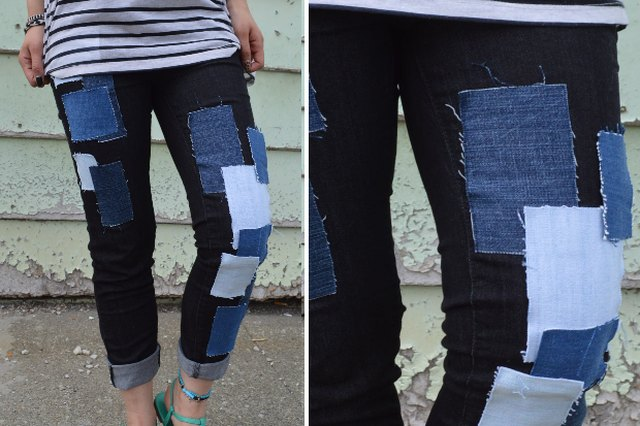 Add leftover denim to your jeans with fusible webbing tape.