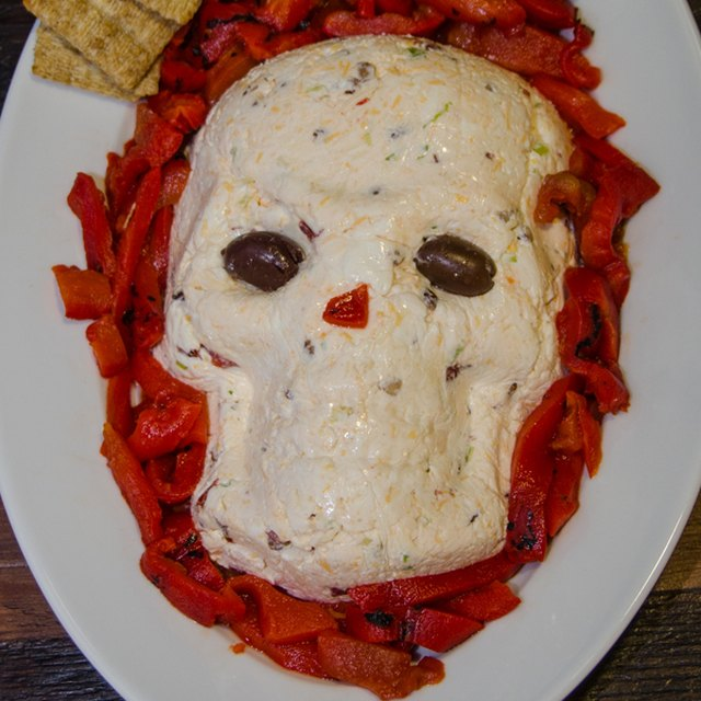 Skeleton shaped cheese ball