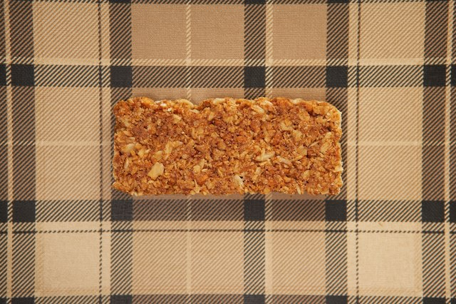 Granola bar on tablecloth