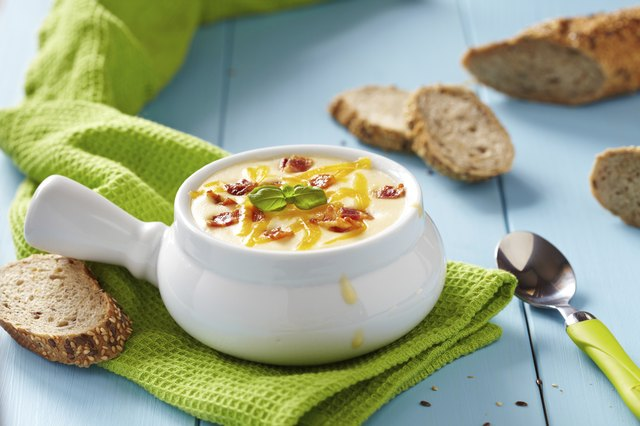 Serve potato soup with crusty French bread for dipping.