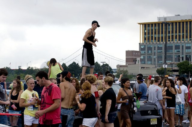 Tailgaters gather outside America's Most Wanted Music Festival in Camden, N.J.