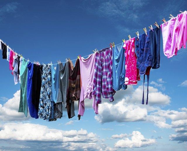 An image of clothes hanging outside.