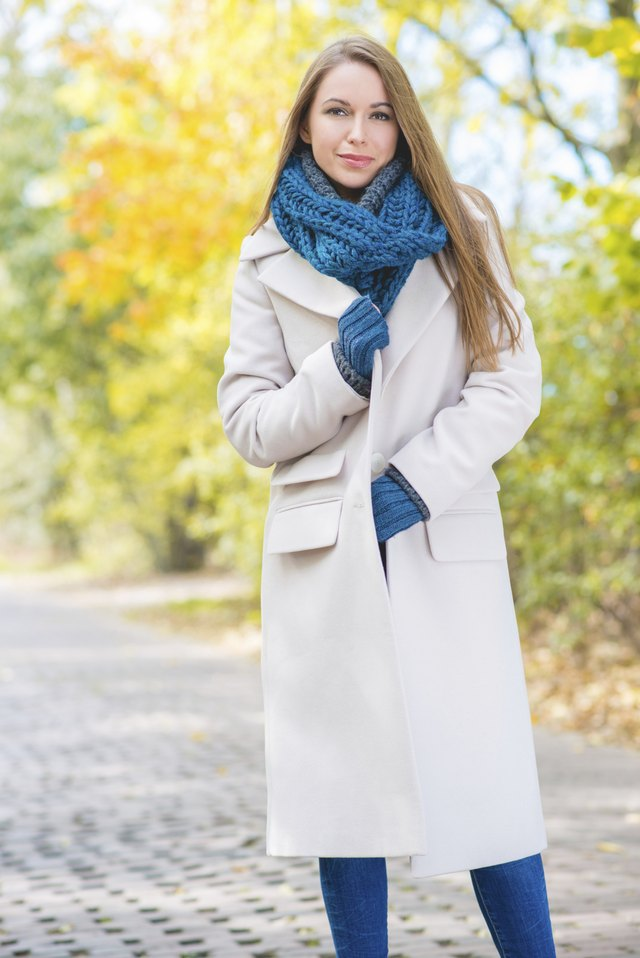 Young woman wearing wool coat
