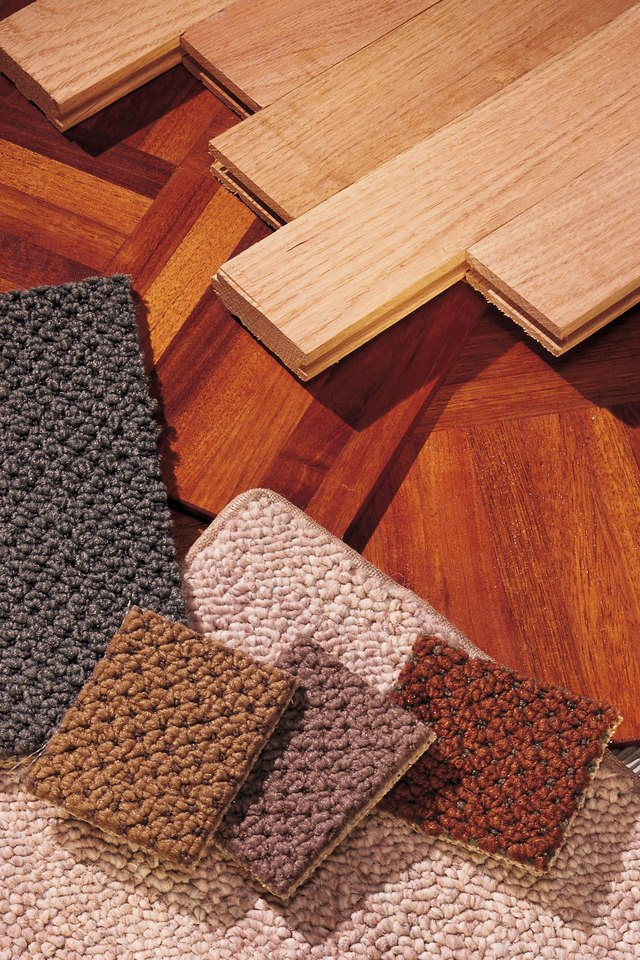 Use a reducer mold to transition from laminate flooring to carpeting.