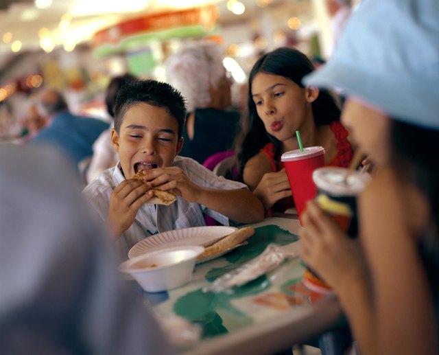 Children eating fast food