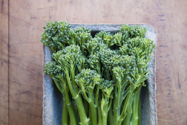 Tub of fresh broccoli