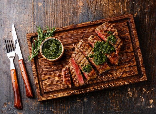 Sliced Sirloin steak with chimichurri sauce