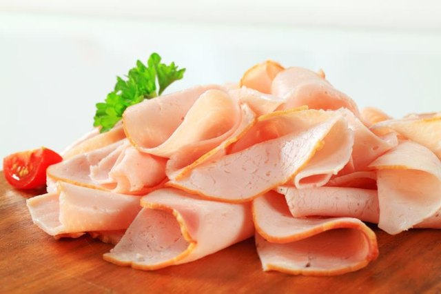 Thin slices of ham made from chicken breast meat