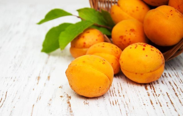 Basket with apricots on a old wooden background
