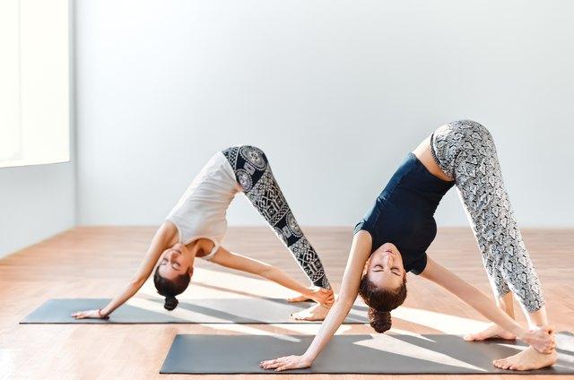 Two young women doing yoga asana revolved downward facing dog