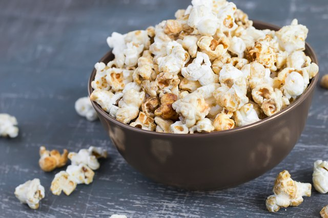 Sweet caramel popcorn in a  bowl