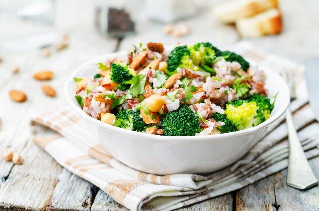 broccoli chickpea cilantro almond white and red rice
