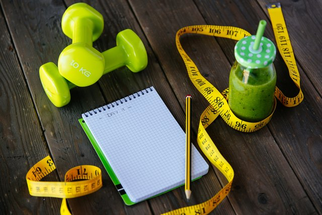 Fitness diet and workout routine concept