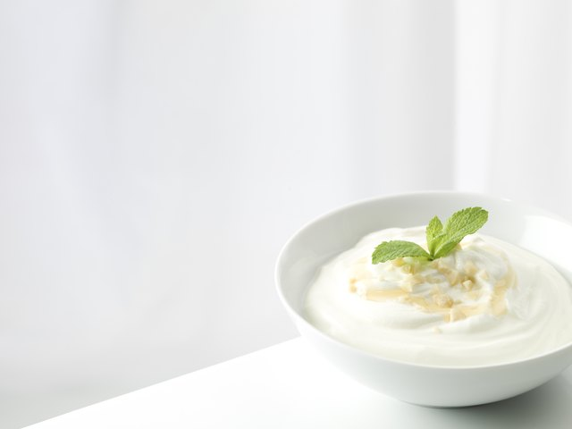 Yogurt with nuts, honey and mint
