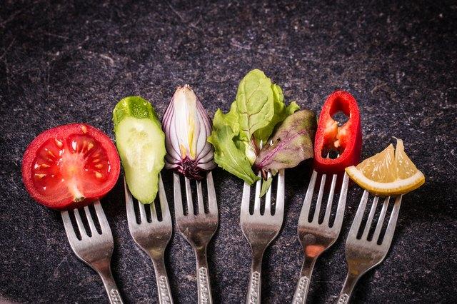 Vegetables on fork