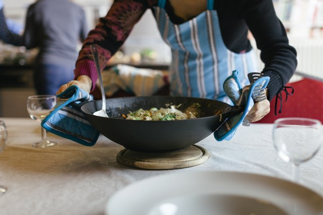 Cooking Wok being placed on a table