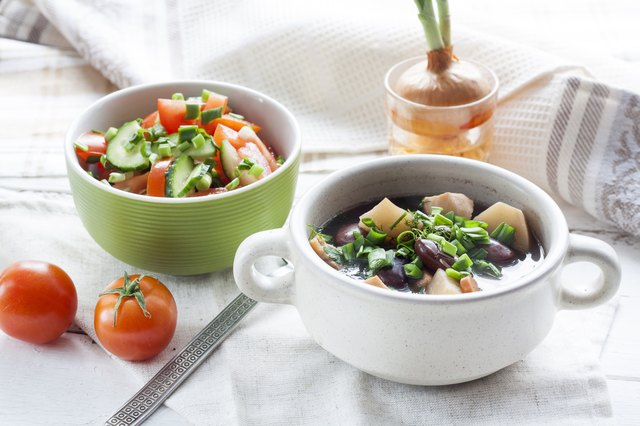 Vegetable soup with beans and chicken