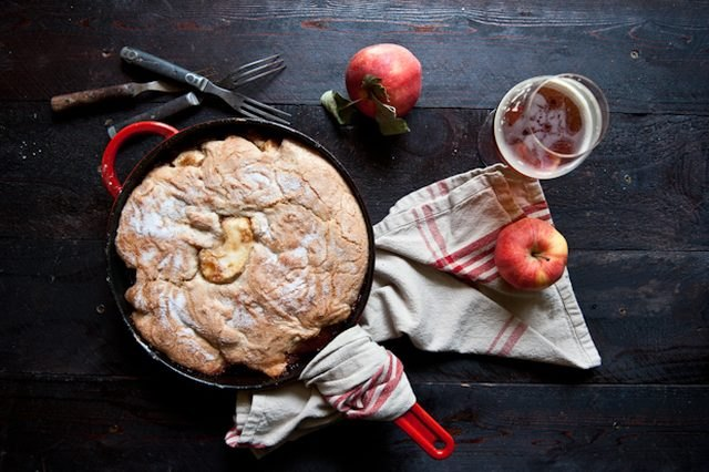 Hard Apple Cider Skillet Cake is perfect for a dinner party.