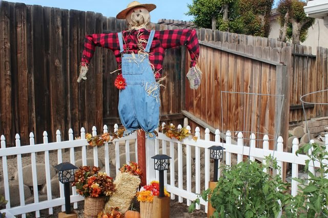 Build a scarecrow to add a little creepiness to your garden.