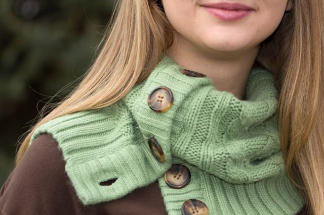 Make a cardigan cowl out of a sweater.
