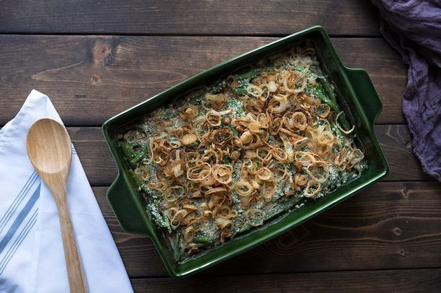 Classic green bean casserole with fried onions