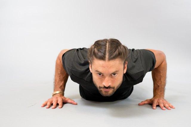Man performing push-up.