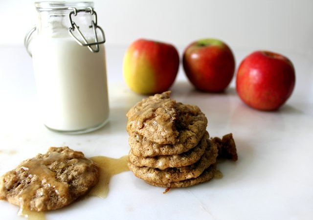 Spiced apple cookies with brown butter icing and ice cold milk