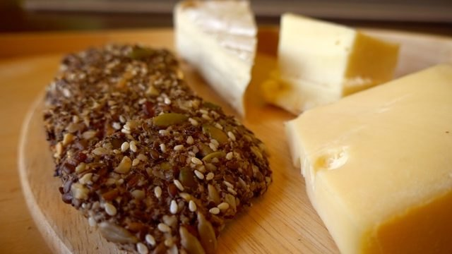 Healthy seed & nut crispbread served with cheese